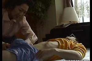 Mature japanese honey enchanting her young boyfriend