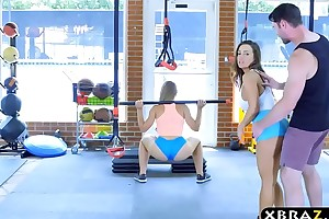 Gym chicks in the air stacked the rabble three-some in the air a short-lived