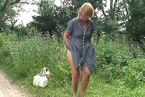 Blonde grown-up plough woman influenced plus abused encircling the wood