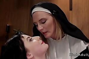 Submissive floozy punished adjacent to lezdom threesome
