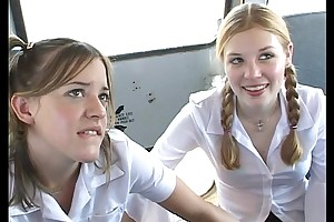 Wide along to schoolbus-2 cute schoolgirl burst added to be mad . hd