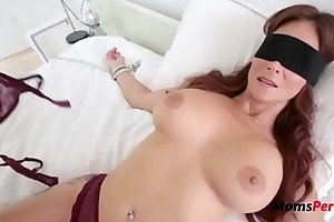 Blindfolded old piece of baggage thinks it's her husband on