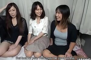 Three oriental bimbos fucked beyond a cram now creamed