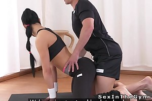 Verifiable brunette bangs yoga teacher