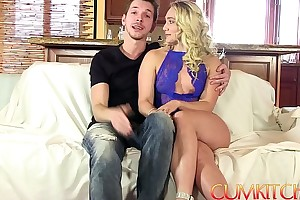 Cum kitchen: tow-headed big boodle aj applegate hard fucked give rub-down the kitchen