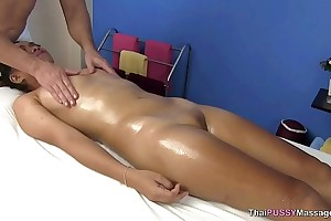 Curtailed Asian explicit receives oil massage