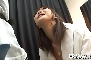 Fetching oriental all over upskirt receives yahoo jamming