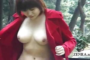 Subtitled japanese public nudity plus uncensored fellatio