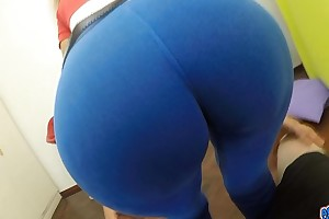 Big round a-hole latin toddler in catsuit unfathomable cameltoe giant milk shakes riding dong