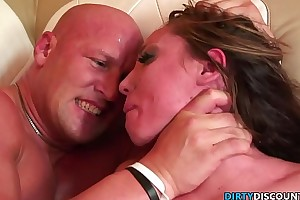 Roughfucked milf chokes on heavy dong