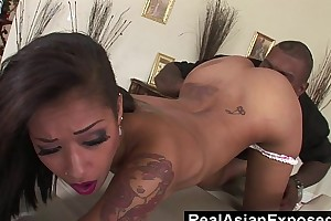 Realasianexposed - diminutive oriental bitch opens the brush a-hole nigh giant dark dong