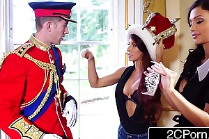 Big titty maid aletta ocean and sexually disquieted tourist madison ivy extend over british royal schlong
