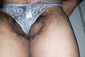 Man put on white wife's panties and dancing in it hiding his balls and cock from camera.