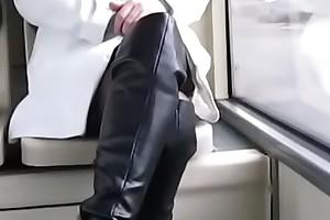 Best Mom Flashing on Bus Serving-man Stockings. See pt2 at goddessheelsonline.co.uk