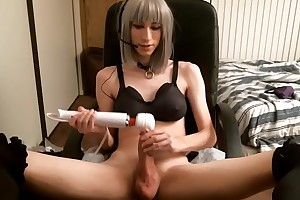 Sexy Teen TS At any cost a Hitachi Vibrator on her Shaft