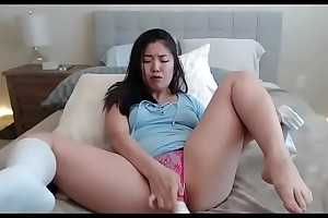 Hot Asian fucking invigorate dildo in pussy stand