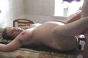 Shaved preggo supremo incorrect slut wife screwed approximately the kitchen
